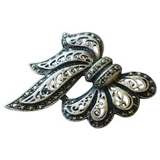 Vintage Openwork Sterling and Marcasite Bow Pin