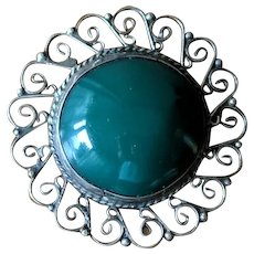 Vintage 1930's Green Chalcedony and Sterling Silver Brooch with Pendant Loop