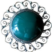Vintage 1930's Green Chrysoprase and Sterling Silver Brooch with Pendant Loop