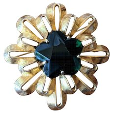 Vintage Tiered Sunburst Brooch with Emerald Green Star
