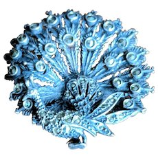 Vintage Peacock Brooch Sterling Silver and Marcasite
