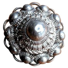 Vintage Sterling Silver Cannetille and Filigree Dome Brooch