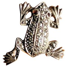 Vintage Sterling Silver and Marcasite Frog Pin
