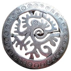 Vintage Taxco Sterling Silver Serpent Circle Pin Pendant