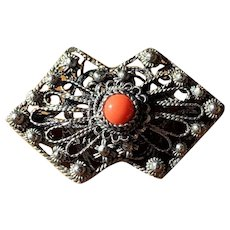Vintage 800 Silver Cannetille and Coral Glass Brooch