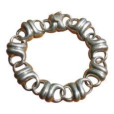 Vintage 1970's Charles Krypell Sterling Silver Sculptural Link Bracelet
