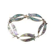 Vintage 1930s Mexican Sterling Silver and Abalone Fish Link Bracelet