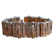 Vintage Wide Metal Beaded Link Bracelet