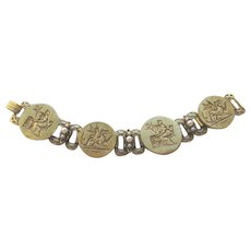 Vintage 1940s Greek Mythology Wide Bookchain Bracelet