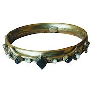 Vintage 1950s Original by Robert Fleur de Lis with Black Glass Bangle Bracelet
