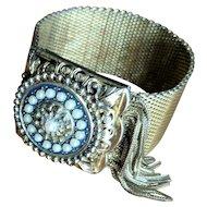 Vintage Wide Mesh Fringed Faux Pearl Bracelet