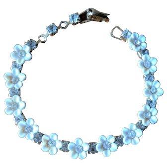 Vintage Coro Rhinestone Daisy Link Bracelet