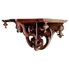 Antique Carved Walnut Winged Dragon Wall Shelf