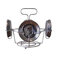 Retro Guardian Ware Chrome Glass Caddy with Roman Mercury Glass Coasters