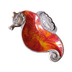Vintage 1960's SeaWorld Seahorse Trinket Dish from Treasure Craft