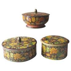 Vintage 1960s Daher Autumn Floral Lidded Tins  - Set of 3