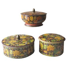 Vintage 1960s Daher Autumn Floral Lidded Tins  - Set of 3