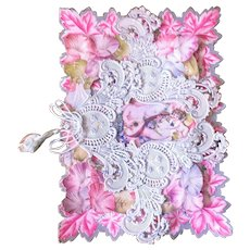 Victorian Embossed Lace Pink Valentines Day Card