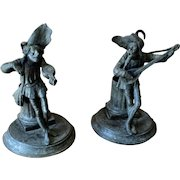 Pair of Cast Spelter Court Jester Spill Vases Match Holders