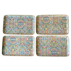 Vintage Colorful Paper Mache Serving Trays Japan - Set of 4