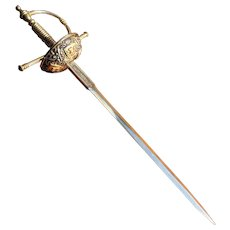 Vintage Faux Damascene Large Sword Letter Opener - Spain
