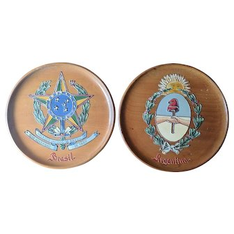 Vintage 1950's Coat of Arms Wood Wall Decor Brazil Argentina