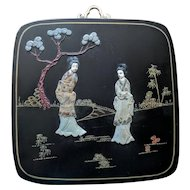 Vintage Chinese Hardstone Inlay Black Lacquered Plaque