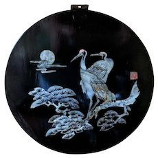 Vintage Mother of Pearl Inlay Crane Motif Lacquered Wall Plaque