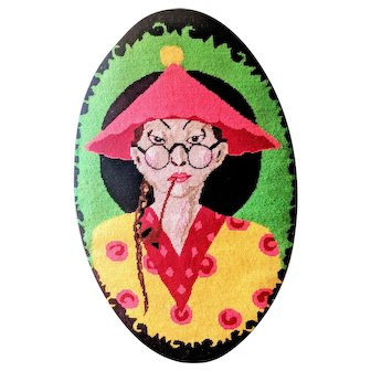 Colorful Vintage Asian Lady in Hat Needlepoint Wall Hanging