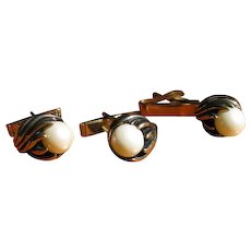 Vintage 1960's Faux Pearl Cufflinks and Tie Clip Set