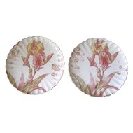 Antique Cauldon Ware Pink and Gold Iris Plates - Set of 2