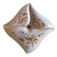 Vintage 1950's White Porcelain Divided Serving Dish with Gilt Bird Motif