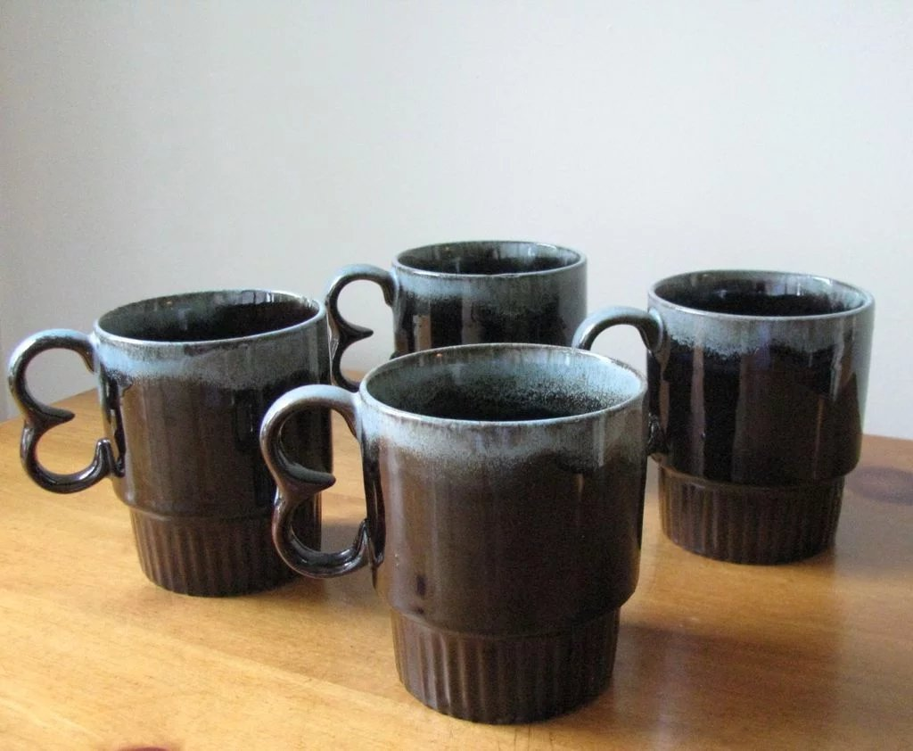 Vintage Brown And Blue Ceramic Drip Ware Mugs Set Of 4