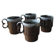 Vintage Brown and Blue Ceramic Drip-ware Mugs - Set of 4