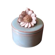 Vintage Blue and Pink Ceramic Trinket Box with Flower Finial