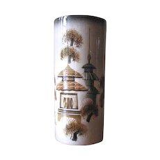 Vintage 1950's Sascha Brastoff Asian Theme Pagoda Vase in Black, Green & Gold