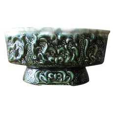 Vintage Green Footed Planter Cachepot with Vine Relief Design