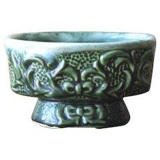 Vintage Ceramic Vine Relief Forest Green Planter