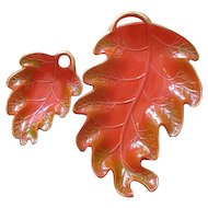 Vintage California Pottery Leaf Bowl Set