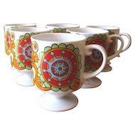 Vintage 1960s Mod Flower Power Ceramic Mugs - Set of 6