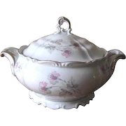 Vintage 1940s Edelstein Bavaria Porcelain Soup Tureen - Silver Trimmed with Pink and Gray Orchid Florals