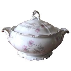 Vintage 1940s Porcelain Soup Tureen with Pink and Gray Orchids