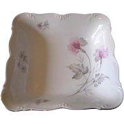 Vintage 1940's Edelstein Bavaria Silver Trimmed Porcelain Square Floral Serving Bowl