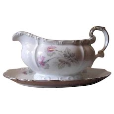 Vintage 1940's Porcelain Gravy Boat in Pink and Gray Orchid Florals