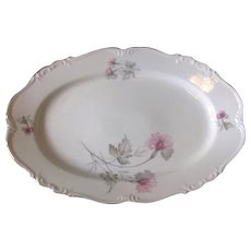 Vintage 1940s Serving Platter in Pink and Gray Orchid Florals