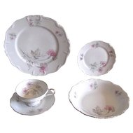 Vintage 1940s Pink and Gray Dinnerware Set in Orchid Florals