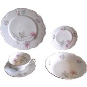 Vintage 1940s Pink and Gray Floral Porcelain Dinnerware Set from Edelstein of Bavaria