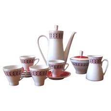Mod 1960's 1970's Red, Black & White Coffee Pot Set from Freiberger Porzellan Germany