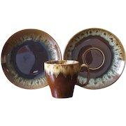 Vintage Ceramic Drip Ware Coffee Mugs, Saucers & Dessert Plates - Service for 8