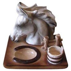 Vintage 1960's Ceramic Horse Desk Caddy Organizer
